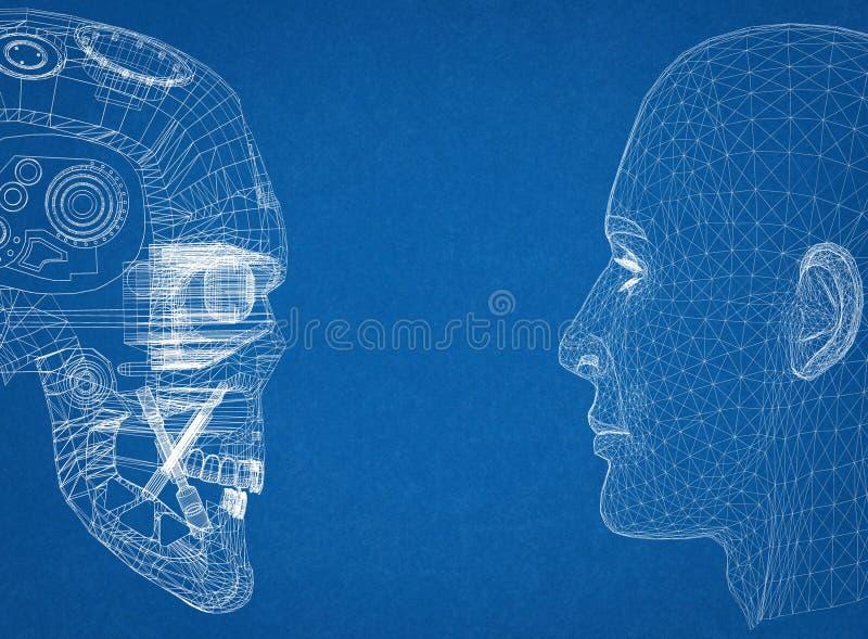 Abstrakcjonistyczne istoty ludzkiej I robota głowy royalty ilustracja