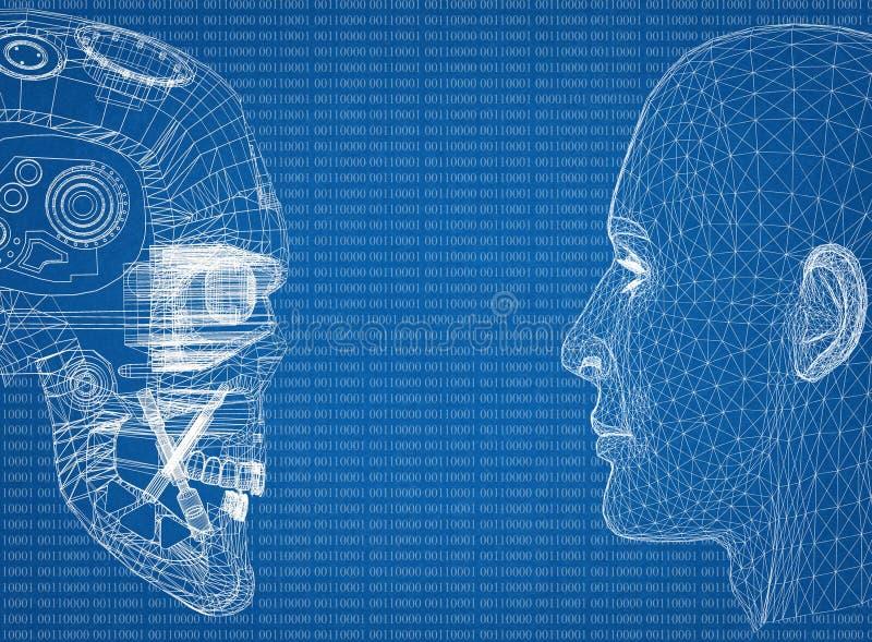 Abstrakcjonistyczne istoty ludzkiej i robota głowy z binarnym kodem royalty ilustracja