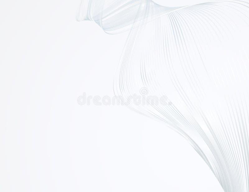 Abstrakcjonistyczne jaskrawe faliste linie na światła białego tła Futurystycznej technologii ilustracyjnym projekcie wzór machają royalty ilustracja