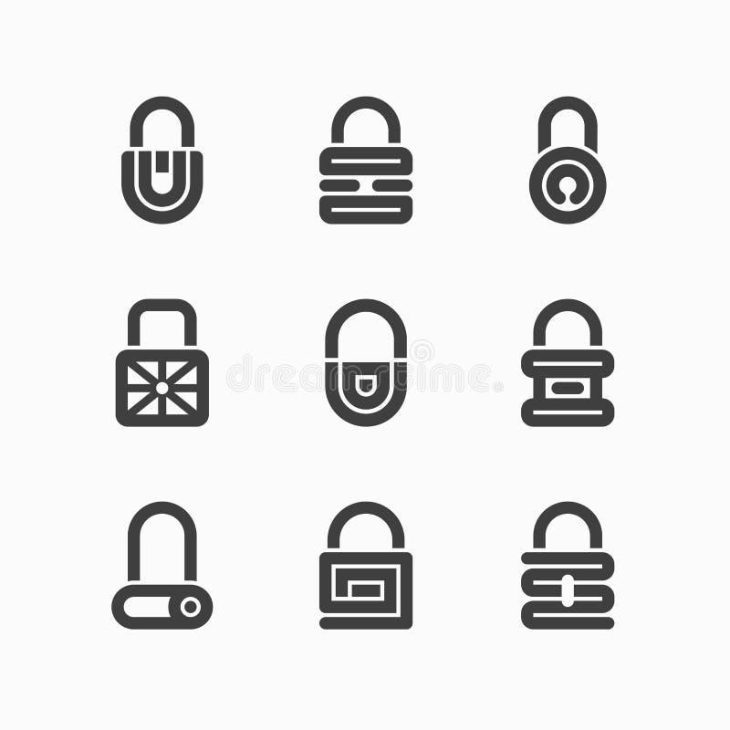 Abstrakcjonistyczne kłódek ikony ilustracja wektor