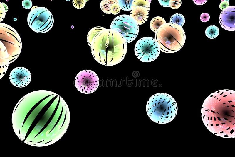 Abstrakcjonistyczne kolor sfery na czarnym tle fotografia stock