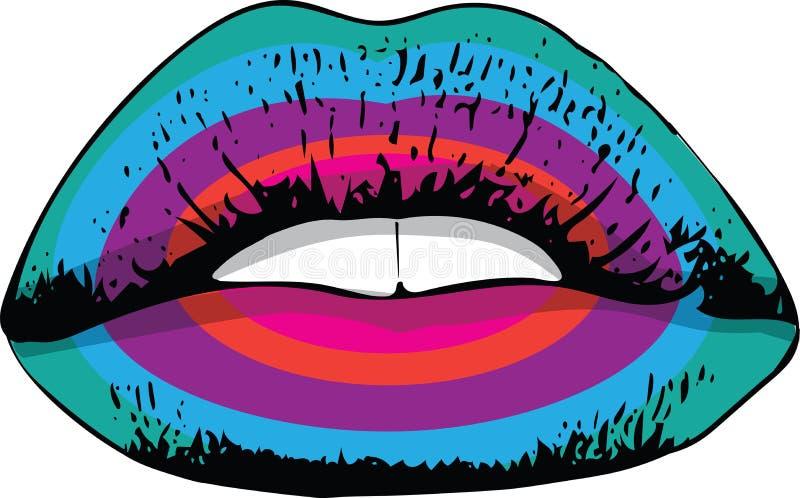 Abstrakcjonistyczne kolorowe kobiet wargi ilustracji