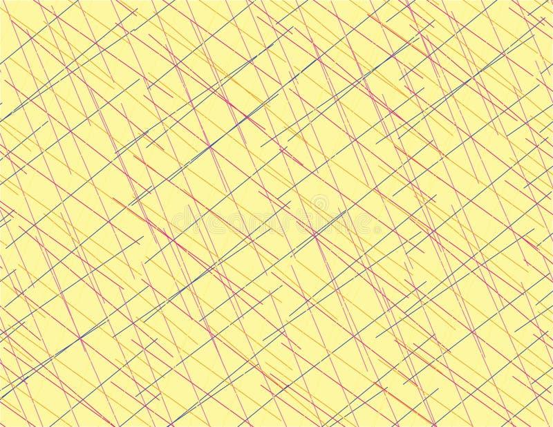 Abstrakcjonistyczne kolorowe linie pokrywa się sztuka koloru żółtego tło ilustracja wektor