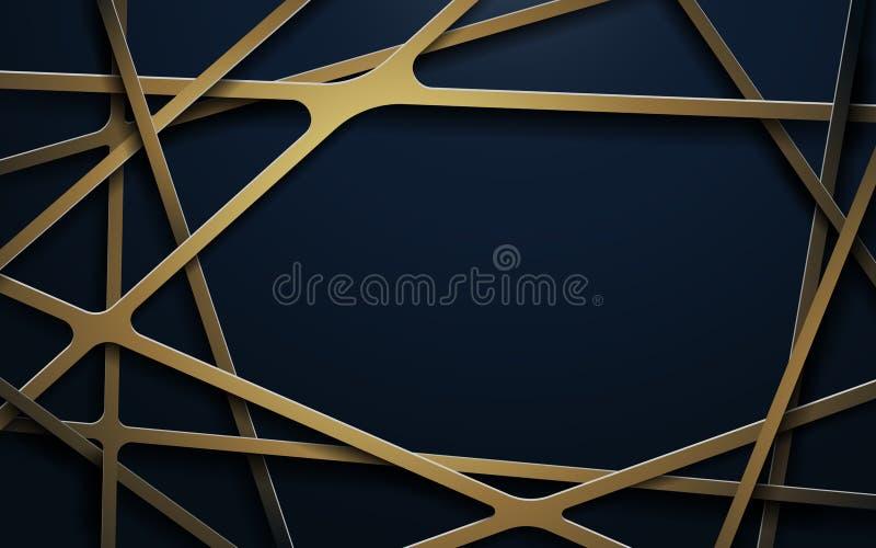 Abstrakcjonistyczne luksusowe złoto linie i zmrok - błękitny tło ilustracja wektor