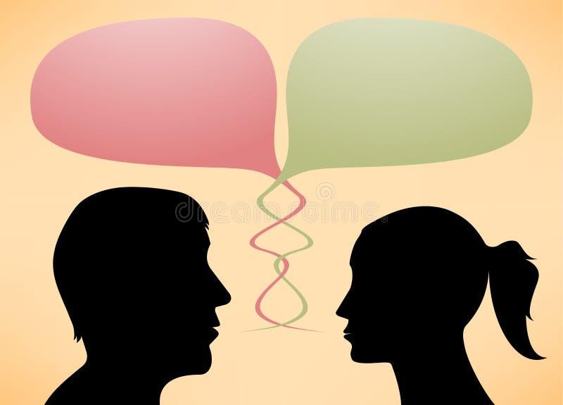 Abstrakcjonistyczne mówca sylwetki mężczyzna i kobiety ilustracji