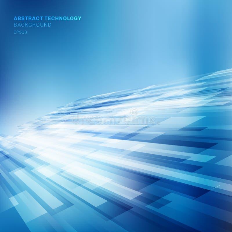 Abstrakcjonistyczne niebieskie linie pokrywają się warstwa biznesowego błyszczącego ruchu tła technologii perspektywicznego pojęc royalty ilustracja