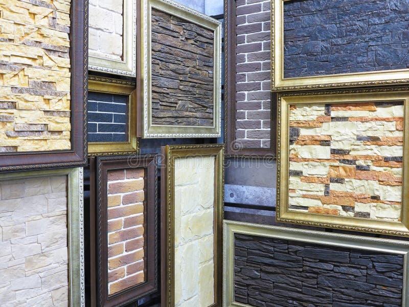 Abstrakcjonistyczne obrazek ramy z kamiennymi ceglanymi teksturami zdjęcie stock