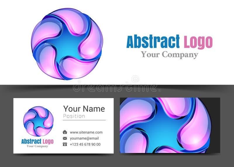 Abstrakcjonistyczne okrąg krople loga i wizytówki Korporacyjny znak ilustracja wektor