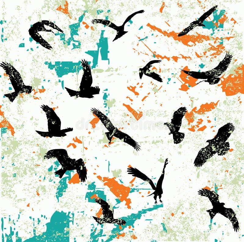 abstrakcjonistyczne ptasie projekta raster sylwetki dzikie ilustracja wektor