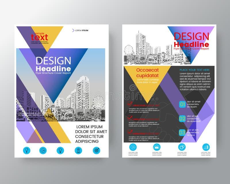 Abstrakcjonistyczne purpury i koloru żółtego trójbok broszurki sprawozdanie roczne zakrywają ulotka projekta układu Plakatowego s royalty ilustracja