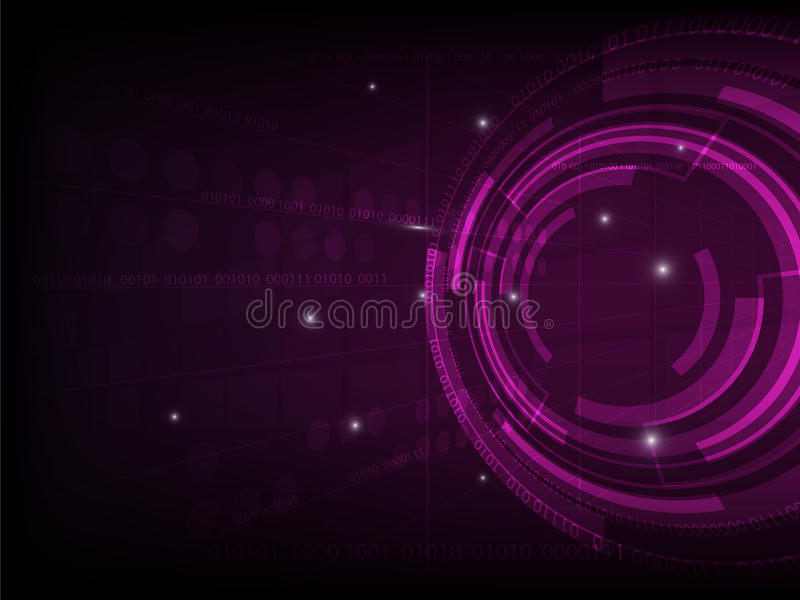 Abstrakcjonistyczne purpury okrążają technologii cyfrowej tło, futurystyczny struktura elementów pojęcia tło ilustracji
