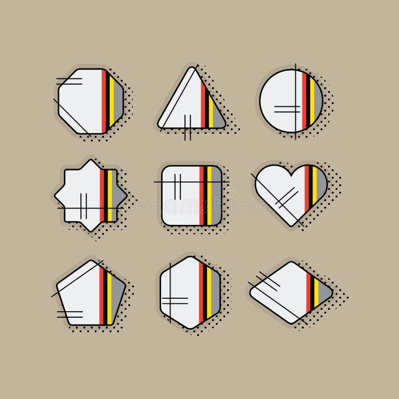 Abstrakcjonistyczne retro wystrzał sztuki lampasa geometrical ikony ustawiać z kropkowanym cieniem ilustracja wektor