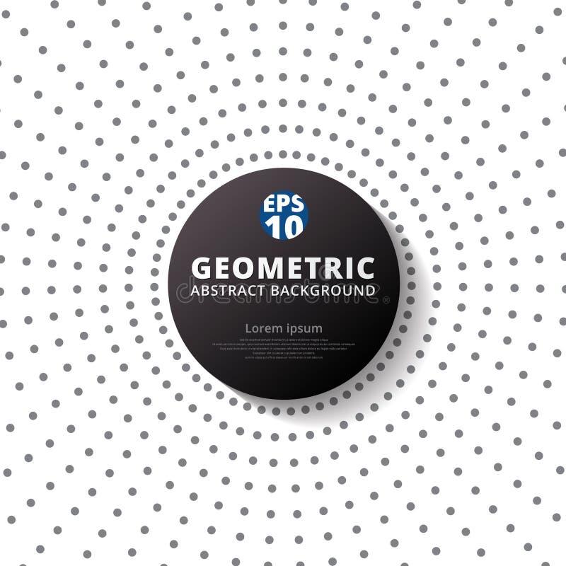 Abstrakcjonistyczne szarość barwią kropka wzoru halftone promieniomierz z czarnym circ ilustracja wektor