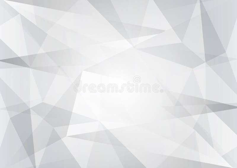 Abstrakcjonistyczne szarość i biel barwią niskiego poli-, wektorowego tło, geometryczna ilustracja z gradientowy Trójgraniastym d ilustracji