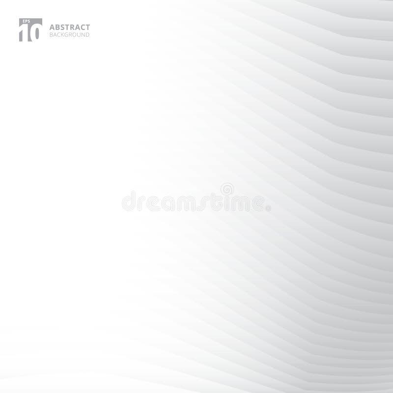 Abstrakcjonistyczne szarość i biel wyginający się linia wzór na białym tle ilustracji
