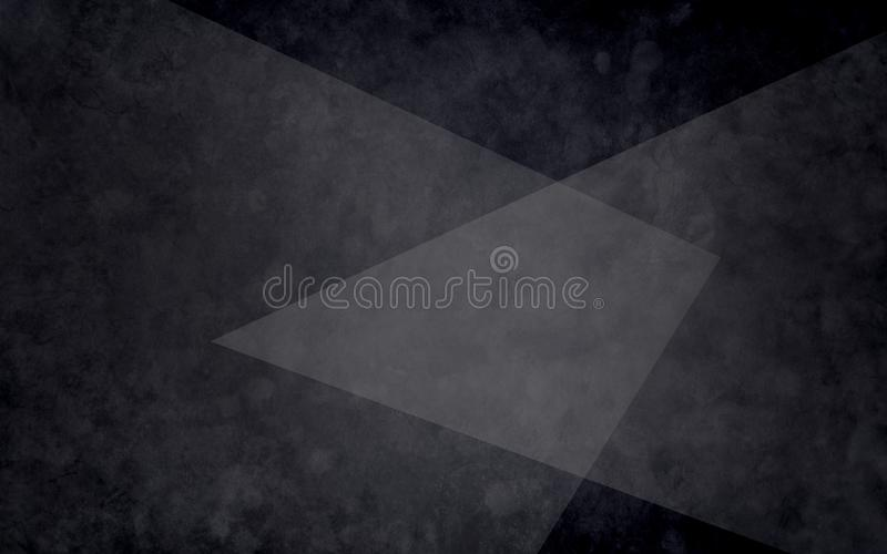 Abstrakcjonistyczne warstwy czarni biali i szarzy trójboki na textured czarnym tle w eleganckim geometrycznym projekcie royalty ilustracja