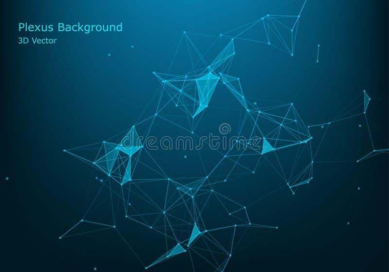 Abstrakcjonistyczne wektorowe cząsteczki i linie Plexus skutek ilustracja futurystyczna Poligonalna Cyber struktura Dane związku  ilustracja wektor