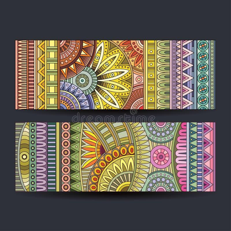 Abstrakcjonistyczne wektorowe etniczne deseniowe karty ustawiać royalty ilustracja