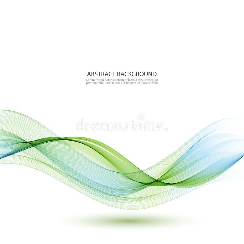 Abstrakcjonistyczne wektorowe tła, błękitnych i zielonych zaondulowane linie dla broszurki, strona internetowa, ulotka projekt royalty ilustracja