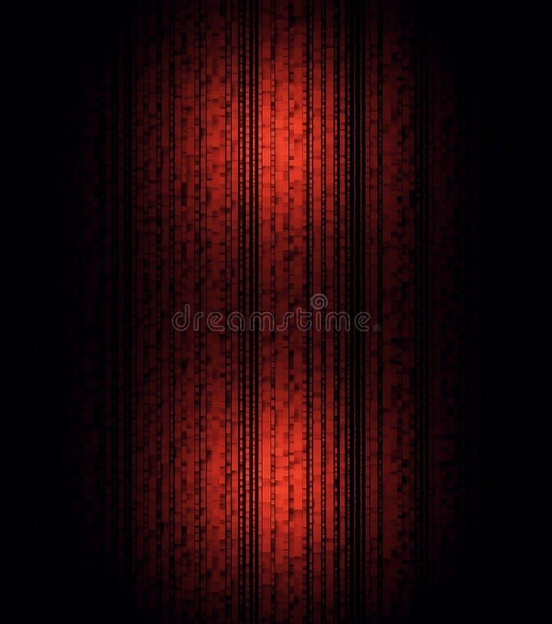 Abstrakcjonistyczne wypukłe czerwone pionowo linie na czarnym tle druk Wibrujący lampasy z dwa lekkimi racami, geometryczny wzór royalty ilustracja