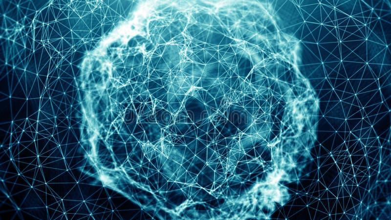 Abstrakcjonistyczne związek kropki tła binarnego kodu ziemi telefonu planety technologia Cyfrowego temat pojęcia projekta ilustra royalty ilustracja