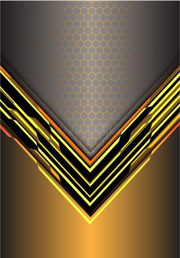 Abstrakcjonistycznego żółtego strzała światła cyfrowy kruszcowy kierunek z sześciokąt siatką na szarość projektuje nowożytnego fu ilustracji