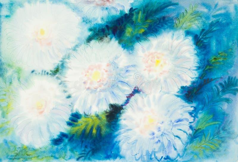 Abstrakcjonistycznego akwarela oryginalnego obrazu biały kolor chrysanthem kwitnie royalty ilustracja