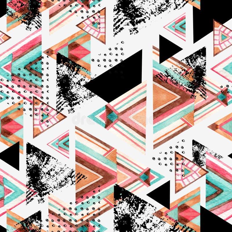 Abstrakcjonistycznego akwarela trójboka bezszwowy wzór royalty ilustracja