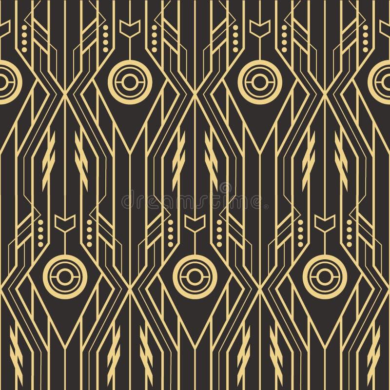 Abstrakcjonistycznego art deco techno bezszwowy wzór ilustracja wektor