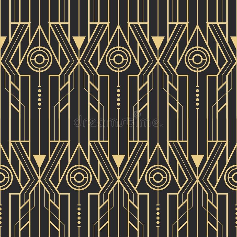 Abstrakcjonistycznego art deco techno bezszwowy wzór royalty ilustracja