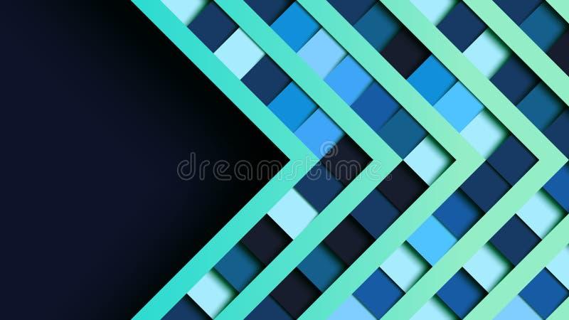 Abstrakcjonistycznego błękita kwadrata kształta geometrycznego papieru rżnięty sztandar ilustracji