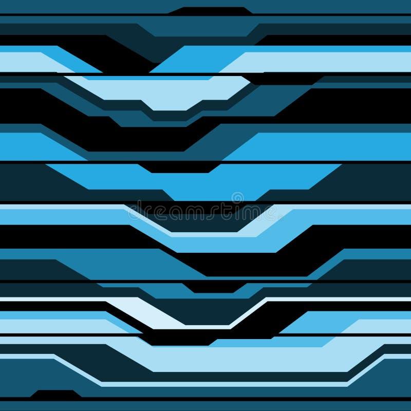 Abstrakcjonistycznego błękitnego czerni linii cyber futurystycznego bezszwowego deseniowego projekta technologii tła nowożytny we royalty ilustracja