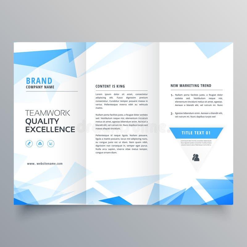 Abstrakcjonistycznego błękitnego kształta broszurki trifold biznesowy projekt ilustracji
