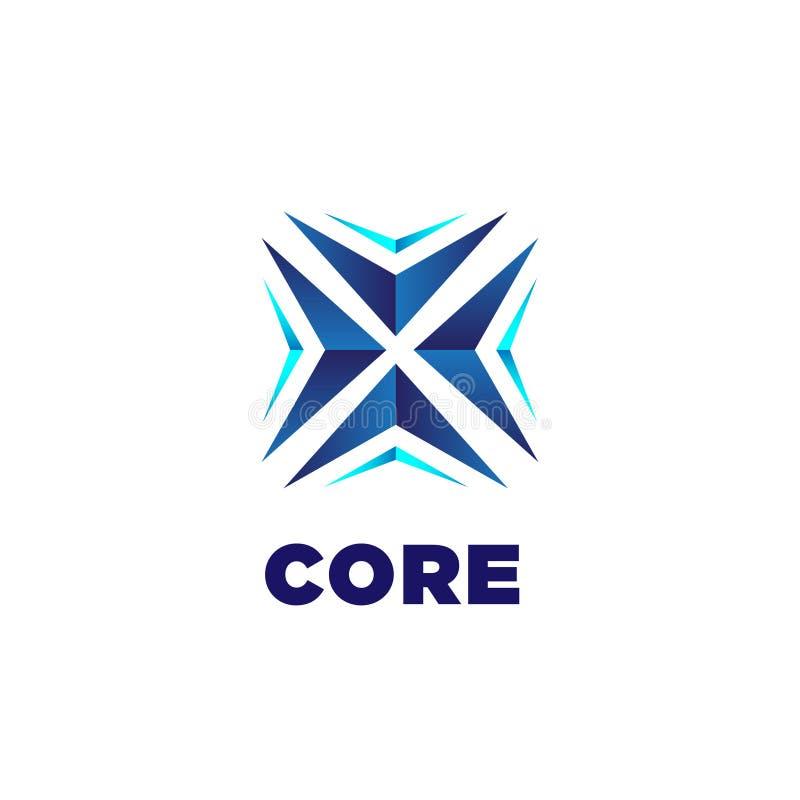 Abstrakcjonistycznego Błękitnego sedna technologii logo Strzałkowaty Biznesowy szablon royalty ilustracja