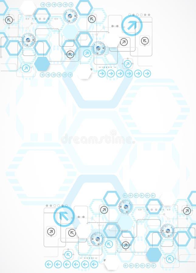 Abstrakcjonistycznego błękitnego sześciokąta futurystyczny tło dla projekta pracuje