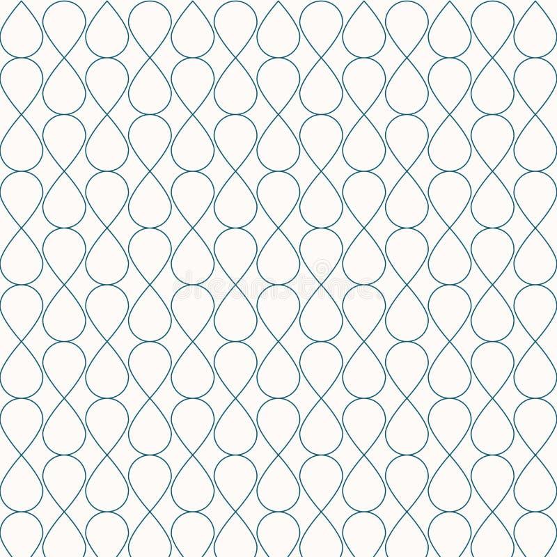 Abstrakcjonistycznego bezszwowego geometrycznego niebieska linia wzoru ornamentu elegancki tło Siatka z kędzierzawą komórka lampa royalty ilustracja