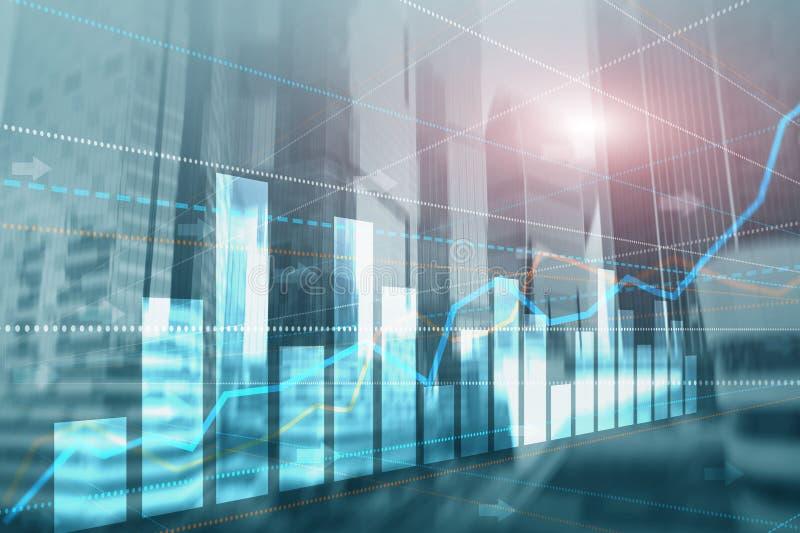 Abstrakcjonistycznego biznesowego nowożytnego miasta architektury miastowy futurystyczny tło Pieniężnej inwestycji lub Ekonomiczn royalty ilustracja