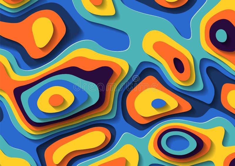Abstrakcjonistycznego ciecza papieru rżnięty tło Stubarwne rzadkopłynne law plamy Geometryczni terenoznawstwo odciski stopi ilustracja wektor