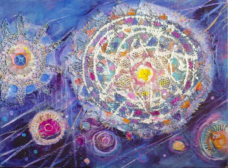 Abstrakcjonistycznego colorfull akrylowy obraz kanwa Grunge tło Szczotkarskie uderzenie tekstury jednostki Może używać dla wnętrz royalty ilustracja