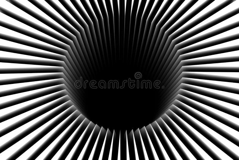 abstrakcjonistycznego czarny desgin geometrycznego dziury złudzenia ilustracyjni okulistyczni kształty ilustracja wektor