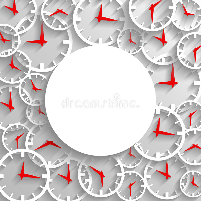 Abstrakcjonistycznego czasu mockup plakatowy tło, 3D analogowy zegar z ramą ilustracji