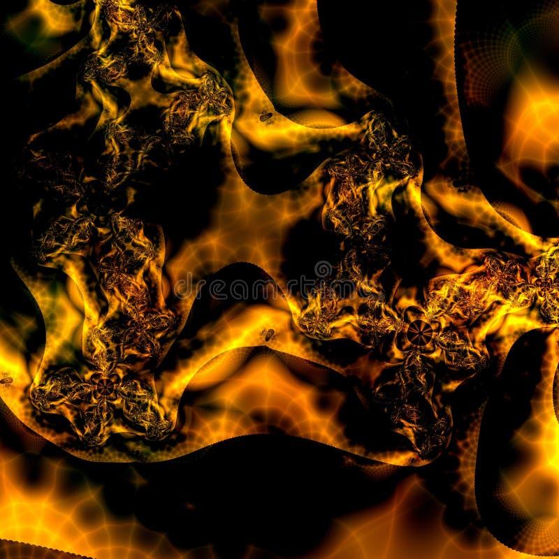 abstrakcjonistycznego czerni tła projektu wzoru tapeta ognistą złota ilustracja wektor