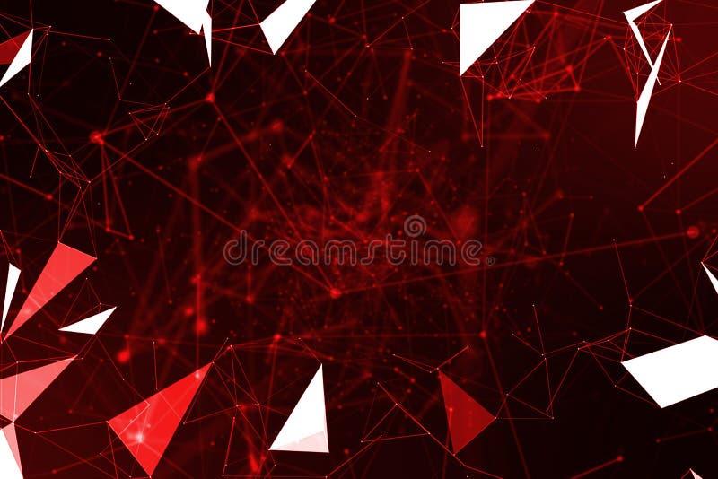 Abstrakcjonistycznego czerwonego geometrical plexus bieżący ruch na czarnym backgr royalty ilustracja