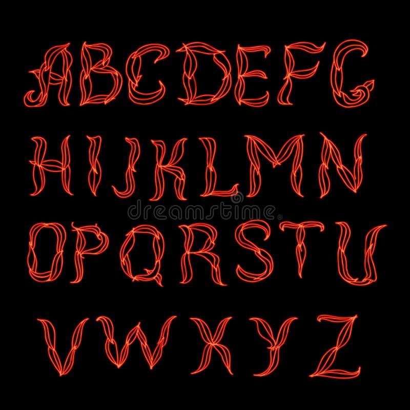 Abstrakcjonistycznego czerwonego plexus neonowa chrzcielnica royalty ilustracja