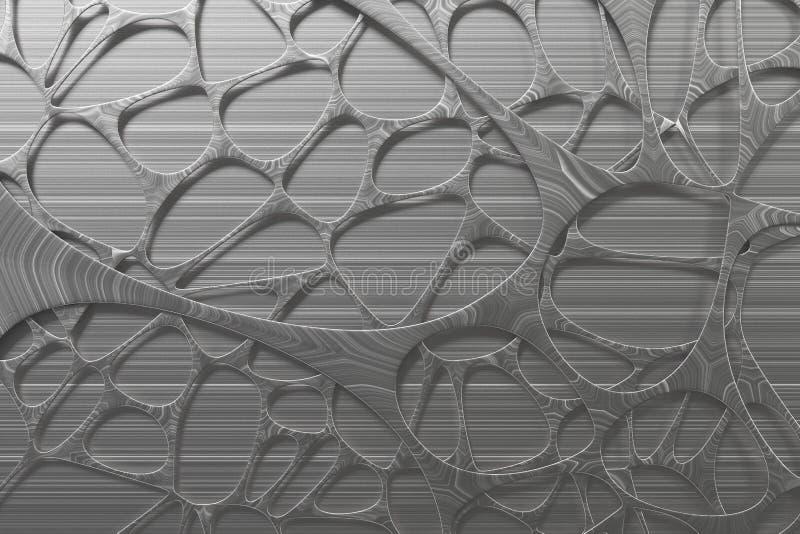 Abstrakcjonistycznego 3d voronoi organicznie struktura robić oczyszczony metal ilustracji