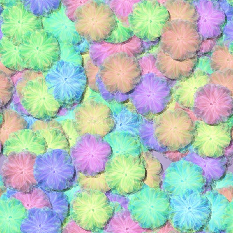 Abstrakcjonistycznego dekoracyjnego fractal kwiecisty wzór - miękkiego światła puszyści kwiaty przypominają powiewnych tiulu lub  royalty ilustracja