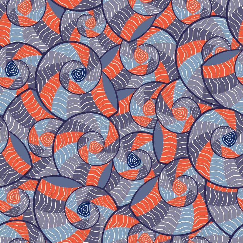 abstrakcjonistycznego doodle wzoru bezszwowi seashells ilustracja wektor