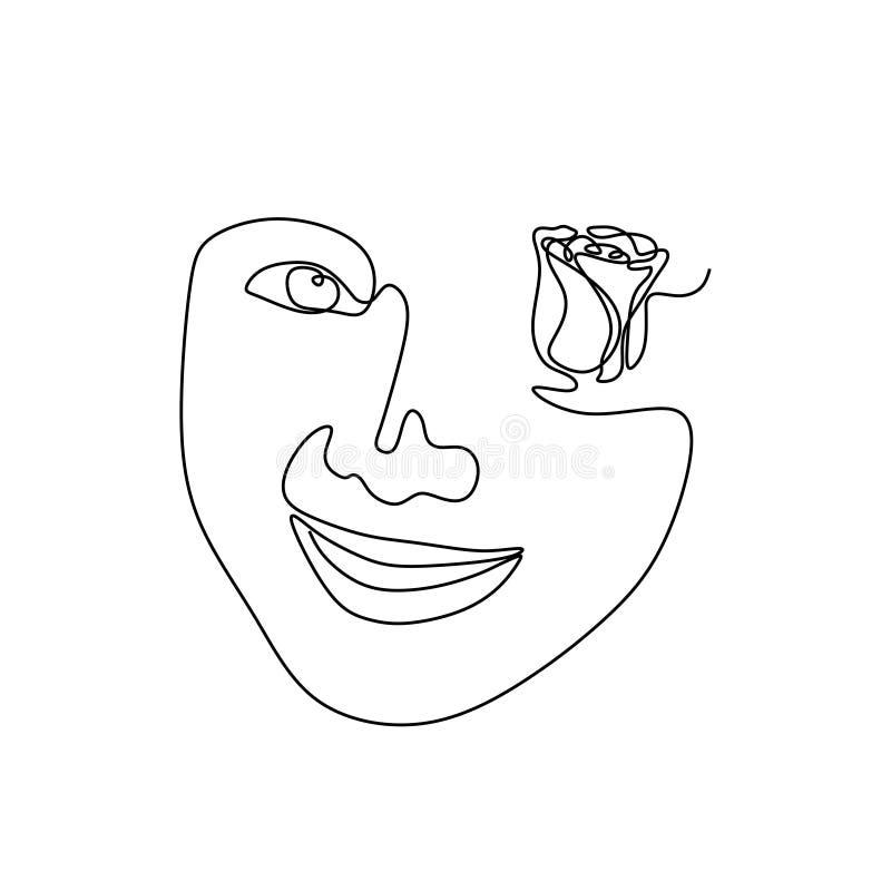 Abstrakcjonistycznego dziewczyny twarzy minimalizmu kreskowego rysunku ciągły wektorowy ilustracyjny minimalistyczny projekt Arty royalty ilustracja