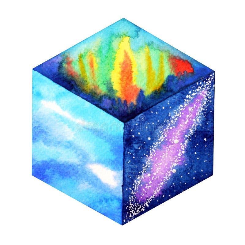 Abstrakcjonistycznego dziwacznego sześcian sztuki pojęcia światowego nieba akwareli wszechrzeczy obraz ilustracji