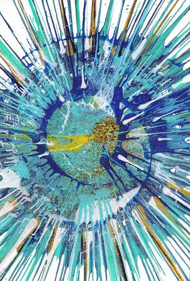 Abstrakcjonistycznego ekspresjonizmu obraz - złoto ryba ilustracja wektor